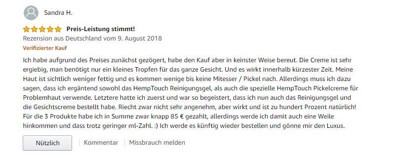 zweiter Erfahrungsbericht Hemptouch
